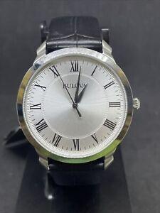 Bulova 96A133 Men's Quartz Dress Black Leather Band Roman Numerals Watch #49