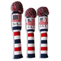 Knit Hybrid Headcover Golf Pom Pom Head Covers Driver Fairway Woods 3pcs/Set New