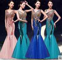 Deep V Neck Women Fishtail Rhinestone Slim Fit Wedding Party Dress Ball Gown NEW
