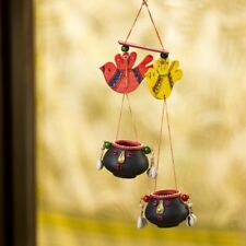 Hand-Painted Bird Decorative Hanging In Terracotta & Wood Decorative Hanging