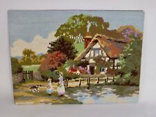 """Vintage Completed Tapestry Needlepoint English Country Cottage 15"""" X 11"""""""