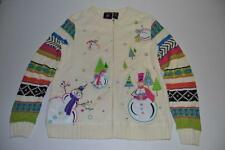 SPORTELLE UGLY CHRISTMAS WHITE SNOWMAN FROSTY SNOW HOLIDAY SWEATER SIZE SMALL S