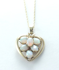 Vintage Heart Shaped Opal Necklace 14k Yellow Gold