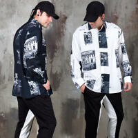 NewStylish Mens Casual Fashion Vintage pictures printed loose fit shirts