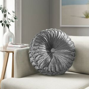 Crush Velvet Cushion Round Cushions Luxury Diamante Chic Filled Scatter Romany