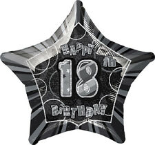 "20"" Happy 18th Birthday Black Sparkle Star Foil Balloon"
