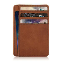 Premium PU Leather Slim ID Credit Card Holder Wallets - Minimalist RFID Blocking