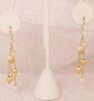 "Yellow Gold Vermeil .925, Sterling Silver Pearl Dangle Earrings Freshwater 2.5"""