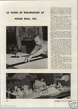 1947 PAPER AD 2 PG Article Vogue Doll Dolls Making Factory Images Velva Baby