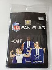 """DALLAS COWBOYS NFL Fan Flag/Cape """"Wave It, Wear It"""" New"""