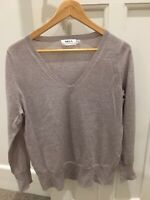 MELA PURDIE Women's Oatmeal V Neck Knit Size Small New Without Tags