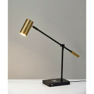 Adesso Collette Charge LED Desk Lamp, Black/Antique Brass - 4217-01