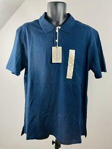 St Johns Bay Men L Navy Blue Short Sleeve Polo Shirt m16