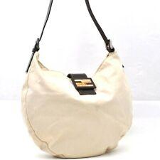Authentic FENDI Mamma Baguette Shoulder Bag Canvas Leather White 98936