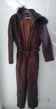 Vintage Belfe & Belfe Active Womens USA Size 8  One Piece Ski Suit Brown Italy