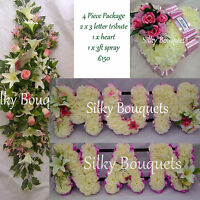 Artificial Silk Funeral Flower Package Mum Nan Wife Wreath Heart Spray Tribute
