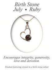 Angelys July Birthstone Red Ruby Heart Pendant Necklace Birthday Xmas Gift Box