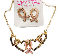 Pink Ribbon Breast Cancer Crystal Heart Pendant Necklace Earring Set 10pc lot