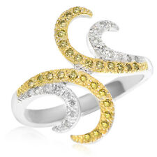 Hand Wide Band Cocktail Bypass Ring 18K Yellow White Gold Pave Diamond Right