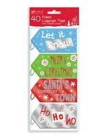 40 Foiled Metallic Coloured Christmas Gift Tags Luggage Labels Tie On XTNKLU