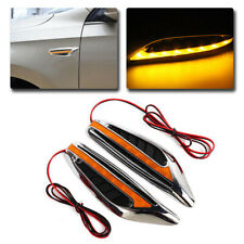 2 X Yellow Universal Car Steering Blade Led Light Turn Signal Fender Side Lights