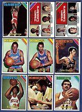 1975-76 Topps Basketball Starter Set 9 Different Cards (130-169) Ex-Mt/Nr-Mt