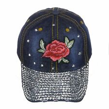 Women's 100% Cotton Denim Bling Crystal Baseball Cap  with  Rose Embroidery