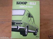 SIMCA 1100 KOOP + RIJ 1975   HANDLEIDING OWNERS MANUAL,INSTRUCTION BOOK