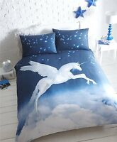 SINGLE BED DUVET COVER SET UNICORN NAVY BLUE CLOUDS MAGICAL PANEL BEDDING