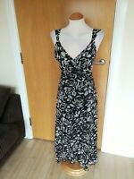 Ladies M&S Dress Size 16 18 Black White Net Fit And Flare Party Evening Wedding