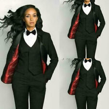 Custom Made Black 3 Piece Slim Womens Pants Suit Vest Business Office Set Tuxedo