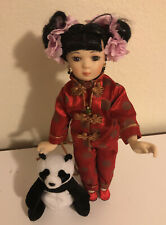 Paradise Galleries Doll Porcelain Oriental W/bear And Stand