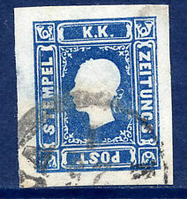 AUSTRIA 1858 Newspaper stamp (1.05 Kr) blue, used
