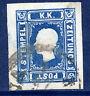 AUSTRIA 1858 Newspaper stamp (1.05 Kr) blue, used