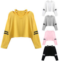 Women Teen Girl Cut Out Shoulder Striped Long Sleeve Sweatshirt Crop Top T-Shirt