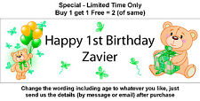 Personalised Birthday Party Banner Sign Teddy Bear, Green Butterflies & Balloons