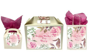 Personalised Happy Mother's Day Floral Gift Box Present Box Bag Various Sizes
