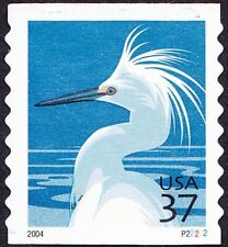 US - 2003 - 37 Cents Snowy Egret Bird Coil #3829A Plate # Single Plate # P22222