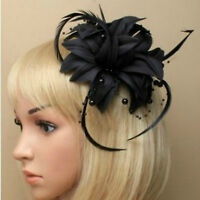 Black Beaded Feather Fascinator Clip Brooch Pin Hat Races Wedding Ascot