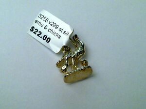 Sterling Silver Emu and chicks charm/ pendant New RRP $22
