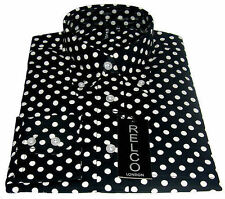 Relco Mens Black & White Polka Dot Long Sleeved Shirt Mod Skin Retro Indie 60s L