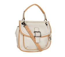 BRIGHTON White / Tan PARKER Pebbled Saddle Bag Convertible Handbag NEW IN BOX