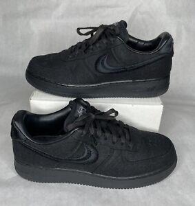 Nike Air Force 1 Low STUSSY - Men's Size 12 - TRIPLE BLACK - CZ9084-001