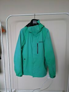 Green oneill ski jacket large 8000mm waterproof, 2 layer with powder skirt