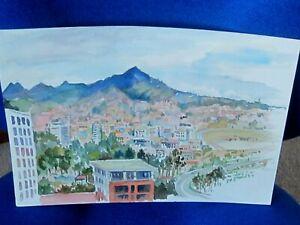 Original Watercolour of Honolulu Hawaii USA  by Nicolette Atwood