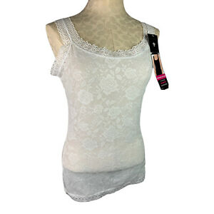 XL Carrie Amber Intimates Lined Front Lace Tank Ivory New Scoop Neck