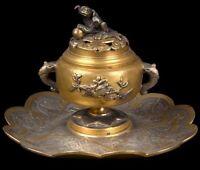 China 20. Jh. Tintenfass - A Chinese Gilt Metal Inkwell - Chinois Cinese Chino