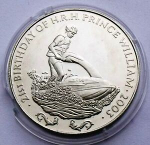 ZAMBIA 1000 KWACHA 2003 PRINCE WILLIAM ON JET SKI PROOF RARE 39mm COIN