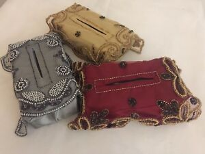 Sequin and beaded Indian Tissue Box cover