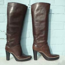 Diesel Leather Boots Size Uk 6 Eur 39 Womens Sexy Pull on Platform Brown Boots